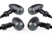 4 x Black Metal Smoke Amber Bullet LED Turn Signals for Harley Cruiser Chopper