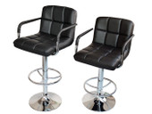 2 of Black Synthetic Leather Modern Design Adjustable Swivel Barstools Hydraulic Bar Stool