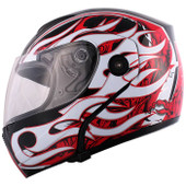 Black/Red Flame Flip Up Modular Motorcycle Full Face Street Helmet~S M L XL