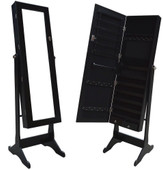 Black Wood Mirrored Jewelry Armoire Cabinet Stand Mirror Necklace Bracelet Rings
