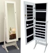 White Wood Mirrored Jewelry Armoire Cabinet Stand Mirror Necklace Bracelet Rings