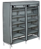 6-Tier 2 Rows Doors Large Shoe Cabinet Rack Shoes Stand Storage Organizer Grey