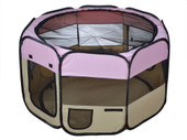 "Pink Portable 45"" Pet Dog Puppy Soft Tent 2 Doors Playpen Exercise Folding Crate"