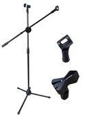 Dual Mic Clip Microphone Stand 360-degree Rotating Folding Type Boom Arm Tripod