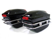 BLACK MOTORCYCLE HARD SADDLEBAG TRUNK BAG LUGGAGE LIGHT