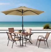 8ft Aluminum Outdoor Beach Patio Umbrella Crank Tilt Sunshade Cover Market Tan