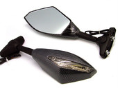 Universal Carbon Fiber Turn Signal Integrated Mirrors with Clear Len for Honda Suzuki Kawasaki Yamaha