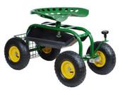 Steel Garden Cart Rolling Work Seat w/ Tool Storage Tray Gardening Planting Yard