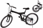 "26"" Black Folding 6 Speed Mountain Bike Fold Bicycle School City College Sports"