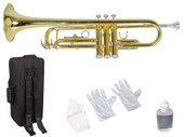 Beginner Gold Lacquer Brass Bb Trumpet w/Care Kit+Case for Student School Band