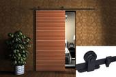 6FT Black Wood Sliding Door Steel Hardware Track Set Modern European Style Barn