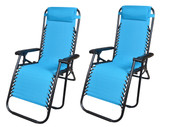 2Pcs Blue Zero Gravity Patio Beach Chairs Outdoor Yard Folding Lounge Recliner