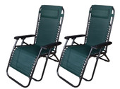 2Pcs Green Zero Gravity Patio Beach Chairs Outdoor Yard Folding Lounge Recliner
