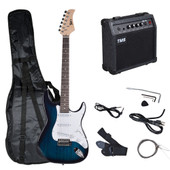 Full Size Electric Guitar Pack+10 Watt Amp Case Strap Gig Bag Pick for Beginner Blue & White