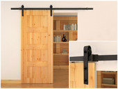 6.6FT Country Dark Coffee Steel Sliding Barn Wood Door Closet Hardware Track Set