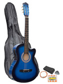 Blue Acoustic Electric Cutaway Guitar with Carry Case, Straps, Tuner, Plectrum