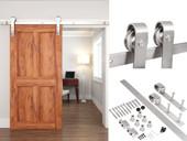 8FT Satin Stainless Steel Modern Style Barn Wood Sliding Door Hardware Set 600LB