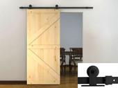 6FT Black Barn Sliding Door Hardware Set w/Unfinished Solid Wood Barn Door Slab