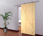 """Stainless Steel Sliding Door Hardware Set w/42"""" Wide Unfinished Wood Door Slab"""