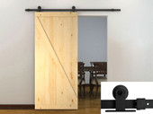 """6FT Black Barn Sliding Door Hardware Set w/36"""" Wide Unfinished Wood Door Slab"""