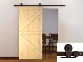 """6FT Dark Coffee Sliding Door Hardware Set w/42"""" Wide Solid Wood Barn Door Slab"""