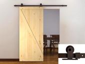 """6FT Dark Coffee Sliding Door Hardware Set w/42"""" Wide Unfinished Wood Door Slab"""
