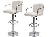2 White PU Leather Modern Design Adjustable Swivel Barstools Hydraulic Bar Stool