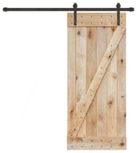 "36"" x 84"" Solid Core Unfinished Plank Knotty Pine Barn Wood Sliding Interior Door"