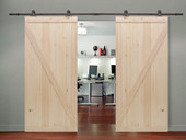 "12FT Dark Coffee Wood Sliding Door Hardware Set w/2x38"" Wide Barn Wood Door Slab"
