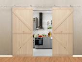 """13FT Stainless Steel Sliding Door Hardware Set w/2x36"""" Wide Solid Wood Door Slab"""