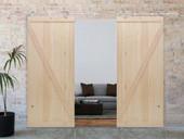 """13FT Stainless Steel Sliding Door Hardware Set w/2x36"""" Wide Wood Barn Door Slabs"""