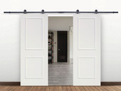 "12FT Black Sliding Door Hardware Set w/2x30"" Wide White Primed MDF Door Planks"