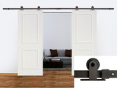 "12FT Dark Coffee Barn Sliding Door Hardware Set w/ 2 x 30"" Wide White Door Plank"