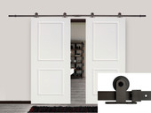 "12FT Dark Coffee Barn Sliding Door Hardware Set w/ 2 x 36"" Wide White Door Plank"