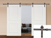 "13FT Dark Coffee Steel Sliding Door Hardware Set w/ 2x36"" Wide White Door Slabs"
