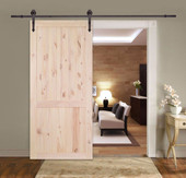 """36"""" Wide Barn Solid Core Unfinished Knotty Pine 2-Panel Wood Sliding Door Slab"""