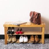 Bamboo Shoe Bench Storage Seat 2 Tier Rack Organizer Holder Furniture Shelves