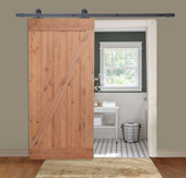 "36""x84"" Knotty Alder Primed Natural Wood Solid Core Barn Sliding Interior Door"
