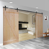 16FT Country Antique Frosted Black Steel Sliding Barn Wood Door Hardware Track Set