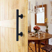 "TMS 12"" Frosted Black Pull and Flush Two-side Door Handle Set Modern Sliding Barn Door Hardware Handle"
