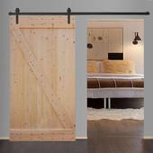 "TMS 8FT Frosted Black Sliding Barn Door Hardware Set w/42"" Wide Solid Core Door Slab"
