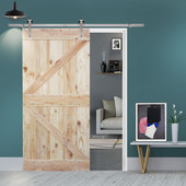 "36""x84"" Natural Primed Knotty Pine Sliding Wood Solid Core Barn Interior Door"