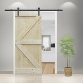 6FT Frosted Black Sliding Door Hardware Set with Unfinished Solid Wood Pine Slab Interior Barn Door