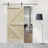 TMS 6FT Stainless Steel Sliding Door Hardware Set with Unfinished Solid Wood Pine Slab Interior Barn Door