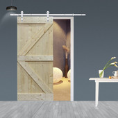 TMS 6.6FT White Sliding Door Hardware Set with Unfinished Solid Wood Pine Slab Interior Barn Door