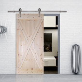 6FT Stainless Steel Sliding Door Hardware Set with X-Panel Unfinished Solid Wood Pine Slab Interior Barn Door