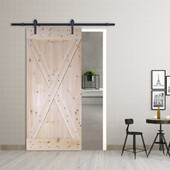 6FT Frosted Black Sliding Door Hardware Set with X Panel Unfinished Solid Wood Pine Slab Interior Barn Door