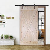 6FT Dark Coffee Sliding Door Hardware Set With X-Panel Solid Core Plank Knotty Pine Barn Wood Sliding Interior Door