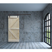"TMS 36"" x 84"" Unfinished Solid Core Plank Knotty Pine K-Design Barn Wood Sliding Interior Door"