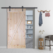 Z-Bar Solid Core Knotty Pine Interior Barn Door Slab with Hardware Kit (Unfinished)